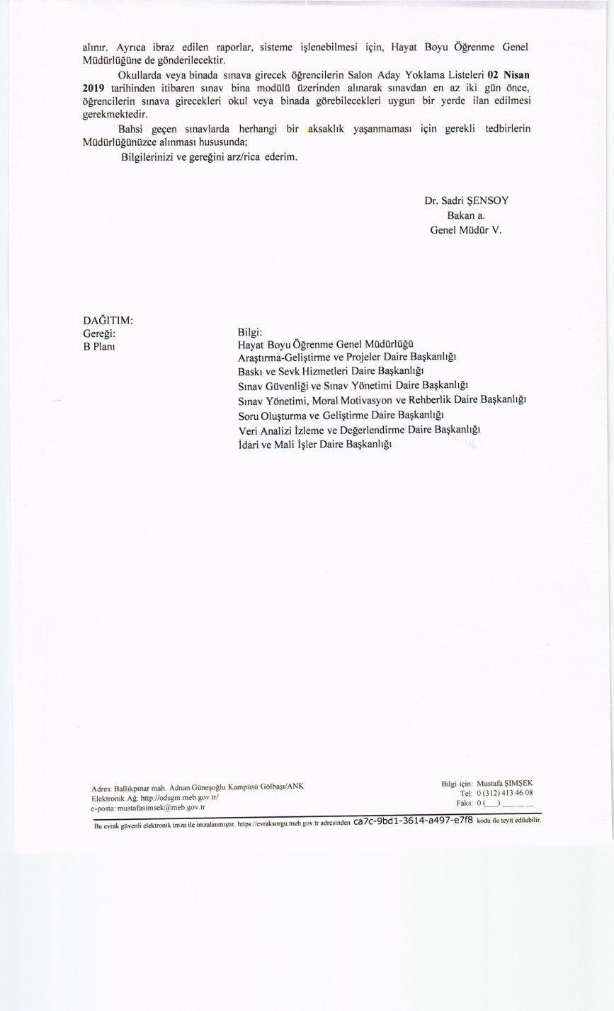 2018-2019 2.Dönem Sınavı Yedek Salon İşlemleri